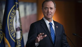 "House Intelligence Committee Chairman Adam Schiff, D-Calif., talks to reporters about the release by the White House of a transcript of a call between President Donald Trump and Ukrainian President Voldymyr Zelenskiy, in which Trump is said to have pushed for Ukraine to investigate former Vice President Joe Biden and his family, at the Capitol in Washington, Wednesday, Sept. 25, 2019. House Speaker Nancy Pelosi, D-Calif., and the Democrats are now launching a formal impeachment inquiry against President Donald Trump. Rep. Schiff characterized Trump's words saying, ""this is how a mafia boss talks."" (AP Photo/J. Scott Applewhite)"