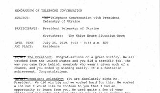 Page one of five from a White House-released rough transcript of President Donald Trump's July 25, 2019 telephone conversation with Ukraine's newly elected president, Volodymyr Zelenskiy, released Wednesday, Sept. 25, 2019 in Washington. (The White House via AP)