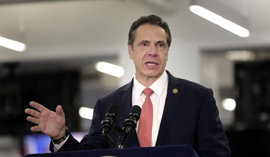 In this Feb. 14, 2019, photo, Gov. Andrew Cuomo addresses the media in New York. (AP Photo/Seth Wenig) **FILE**
