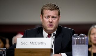 Ryan McCarthy, the nominee to the Secretary of the Army, speaks during his Senate Armed Services Committee confirmation hearing, Thursday, Sept. 12, 2019, in Washington. (AP Photo/Andrew Harnik)