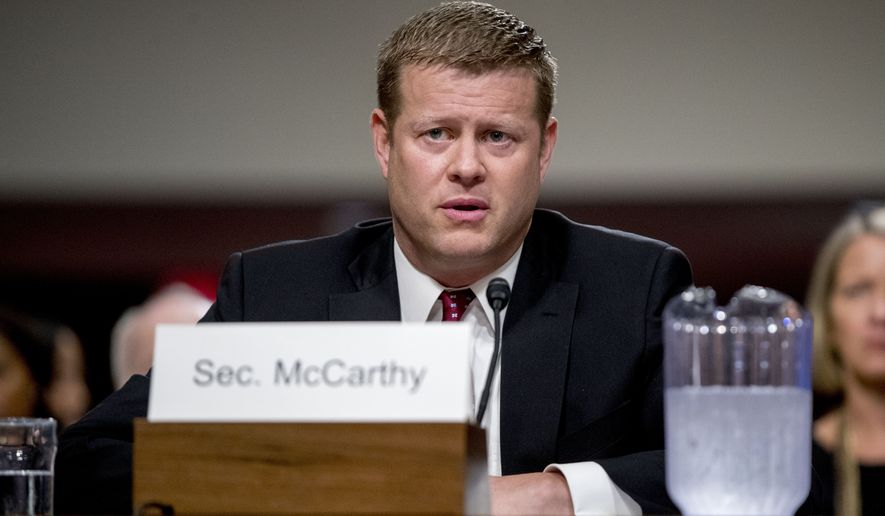 In this file photo, Ryan McCarthy, at the time nominated to be Secretary of the Army, speaks during his Senate Armed Services Committee confirmation hearing, Thursday, Sept. 12, 2019, in Washington. (AP Photo/Andrew Harnik)  **FILE**