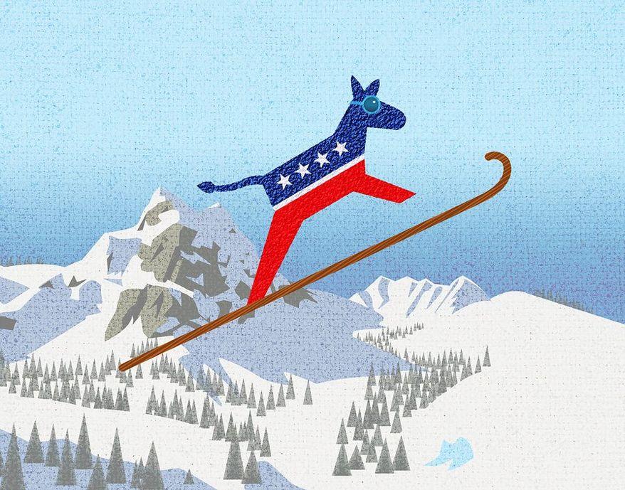 Ski Jump Donkey Illustration by Greg Groesch/The Washington Times