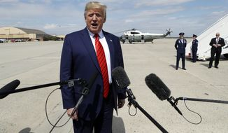 President Donald Trump speaks to the media after arriving at Andrews Air Force Base, Md., Thursday, Sept. 26, 2019. Trump had spent the week attending the United Nations General Assembly in New York.  (AP Photo/Evan Vucci)