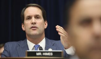 Rep. Jim Himes, D-Conn., questions Acting Director of National Intelligence Joseph Maguire as he testifies before the House Intelligence Committee on Capitol Hill in Washington, Thursday, Sept. 26, 2019. (AP Photo/Andrew Harnik)
