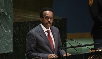 Somalia's President Mohamed Abdullahi Mohamed addresses the United Nations General Assembly at United Nations headquarters Thursday, Sept. 26, 2019, in New York. (AP Photo/Kevin Hagen).