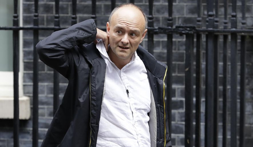 """Dominic Cummings, political adviser to Britain's Prime Minister Boris Johnson, leaves 10 Downing Street in London, Thursday, Sept. 26, 2019. An unrepentant Prime Minister Boris Johnson brushed off cries of """"Resign!"""" and dared his foes to try to topple him Wednesday at a raucous session of Parliament, a day after Britain's highest court ruled he acted illegally in suspending the body ahead of the Brexit deadline. (AP Photo/Kirsty Wigglesworth)"""