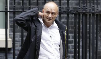 "Dominic Cummings, political adviser to Britain's Prime Minister Boris Johnson, leaves 10 Downing Street in London, Thursday, Sept. 26, 2019. An unrepentant Prime Minister Boris Johnson brushed off cries of ""Resign!"" and dared his foes to try to topple him Wednesday at a raucous session of Parliament, a day after Britain's highest court ruled he acted illegally in suspending the body ahead of the Brexit deadline. (AP Photo/Kirsty Wigglesworth)"