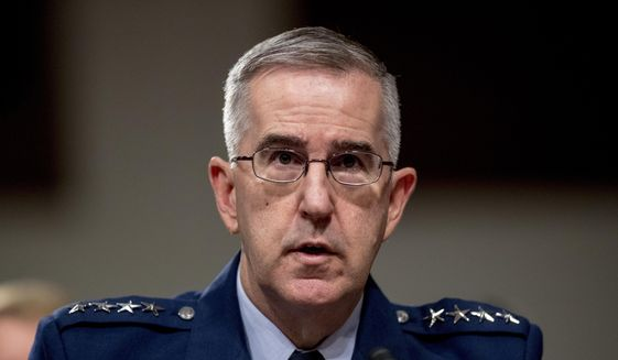 In this April 11, 2019, file photo, then-U.S. Strategic Command Commander Gen. John Hyten testifies before a Senate Armed Services Committee hearing on Capitol Hill in Washington. The Senate has confirmed the nomination of Hyten to become the vice chairman of the Joint Chiefs of Staff. (AP Photo/Andrew Harnik, File)