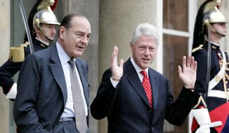 FILE - In this June 6, 2005 file photo, former French President Jacques Chirac, left, and former U.S. president Bill Clinton leave after their meeting at the Elysee Palace in Paris. Jacques Chirac, a debonair master of politics who championed French grandeur and whose 12 years as president were overshadowed by tensions with the United States over his opposition to war in Iraq. (AP Photo/Jacques Brinon, File)