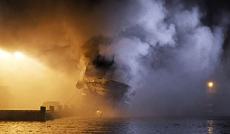 The Russian fishing trawler Bukhta Naezdnik engulfed in flames in the harbour of Tromso, Norway, Thursday Sept. 26, 2019. (Rune Stoltz Bertinussen/NTB Scanpix via AP)
