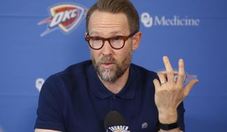 Sam Presti, Oklahoma City Thunder executive vice president and general manager, speaks during a news conference in Oklahoma City, Thursday, Sept. 26, 2019. Presti is preparing for a season without Russell Westbrook for the first time in a decade. (AP Photo/Sue Ogrocki)