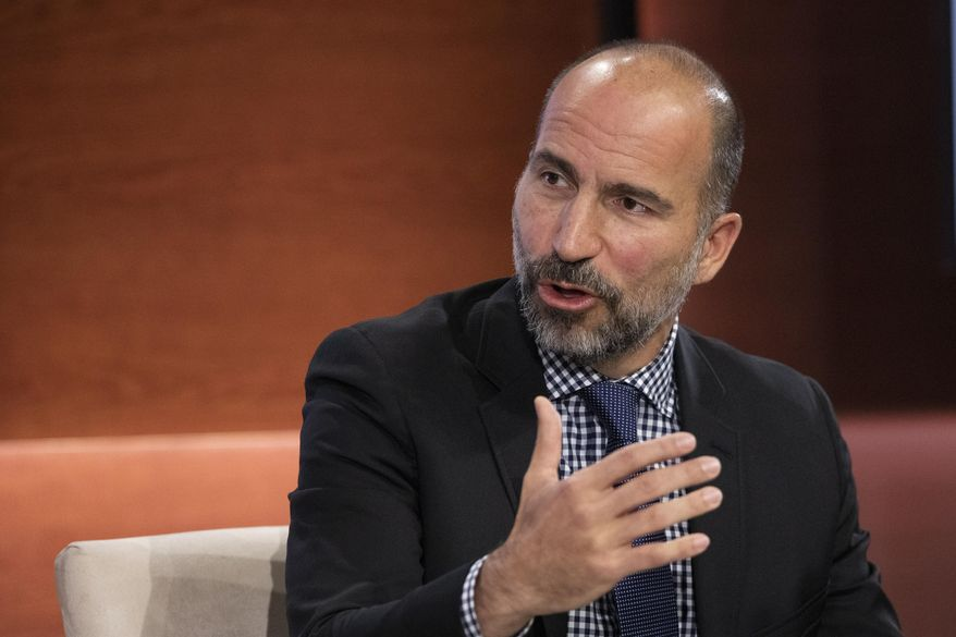 In this Wednesday, Sept. 25, 2019, file photo Dara Khosrowshahi, CEO of Uber, speaks at the Bloomberg Global Business Forum in New York. (AP Photo/Mark Lennihan, File)