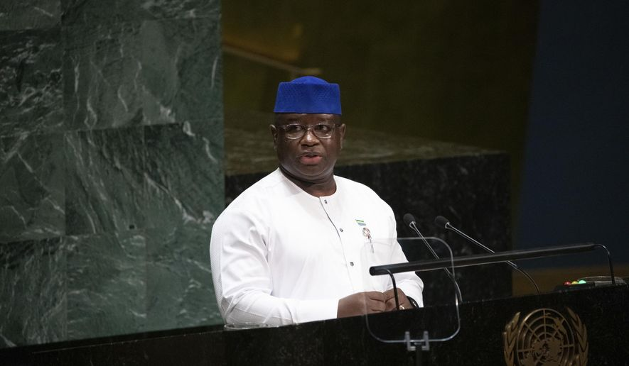 Sierra Leone's President Julius Maada Bio speaks during the United Nations General Assembly at United Nations headquarters Thursday, Sept. 26, 2019. (AP Photo/Kevin Hagen)