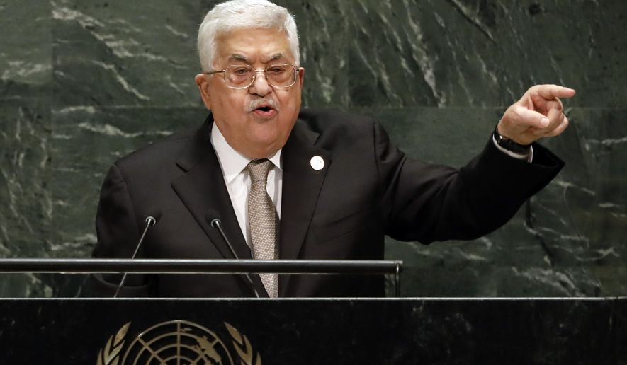Palestinian President Mahmoud Abbas addresses the 74th session of the United Nations General Assembly, Thursday, Sept. 26, 2019. (AP Photo/Richard Drew)
