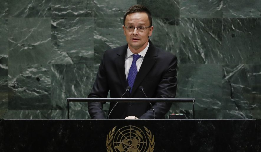 Hungarian Minister of Foreign Affairs and Trade Peter Szijjarto addresses the 74th session of the United Nations General Assembly, Thursday, Sept. 26, 2019, at the U.N. headquarters. (AP Photo/Frank Franklin II)  **FILE**