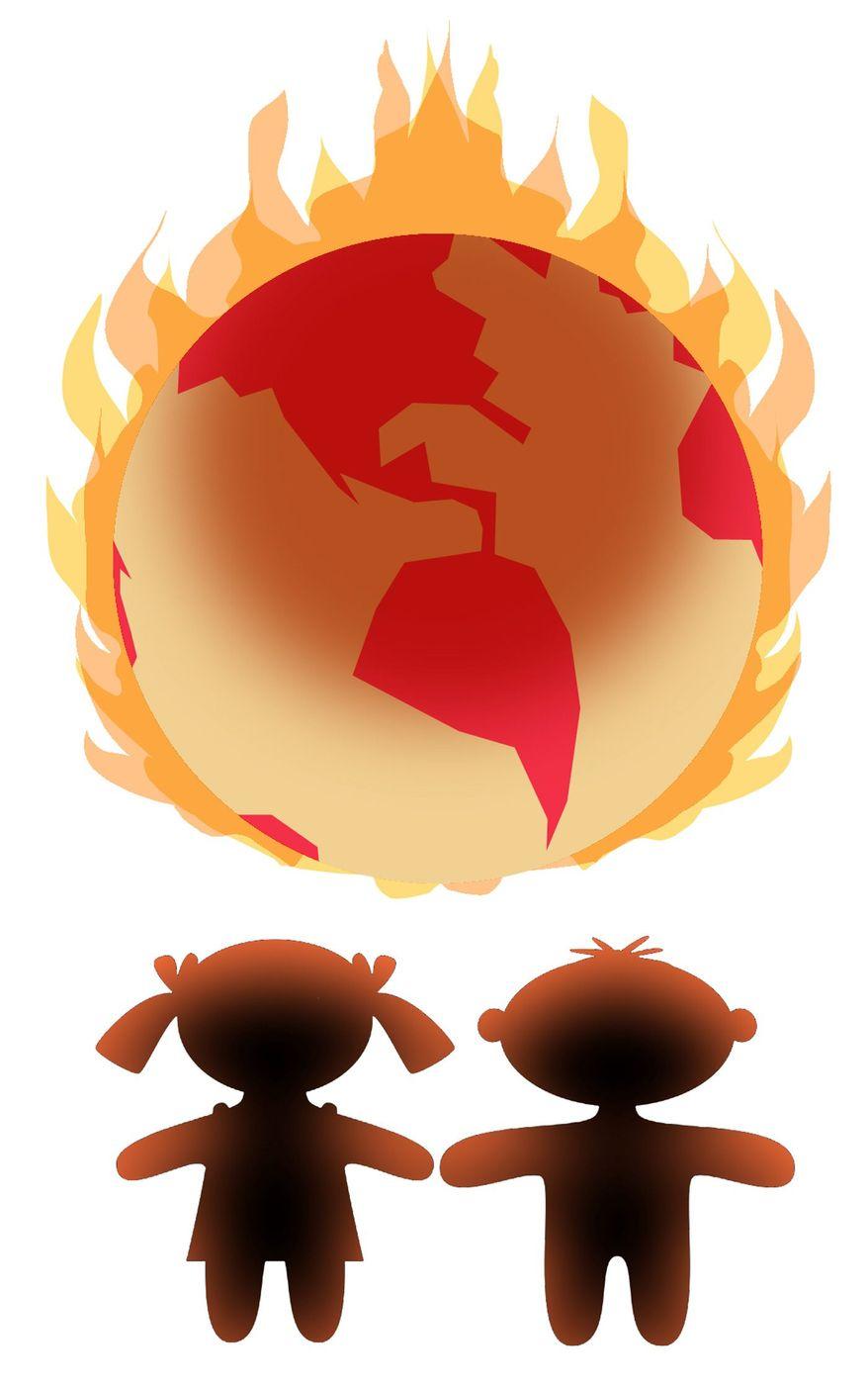 Illustration on climate change alarmism's effects on children by Alexander Hunter/The Washington Times