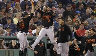 Baltimore Orioles' Renato Nunez (39) celebrates his three-run homer at the dugout with Jonathan Villar (2) in the third inning of a baseball game against the Boston Red Sox at Fenway Park, Friday, Sept. 27, 2019, in Boston. (AP Photo/Elise Amendola)