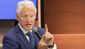 In this Sept. 25, 2019, photo, former U.S. President Bill Clinton speaks at the Bloomberg Global Business Forum in New York. (AP Photo/Mark Lennihan) **FILE**