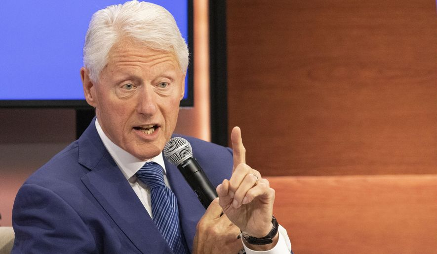 In this Sept. 25, 2019, file photo, former U.S. President Bill Clinton speaks at the Bloomberg Global Business Forum in New York. (AP Photo/Mark Lennihan, File)