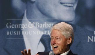 Former President Bill Clinton speaks at a George and Barbara Bush Distinguished Lecture series event, Friday, Sept. 27, 2019, at the University of New England in Biddeford, Maine. (AP Photo/Robert F. Bukaty)