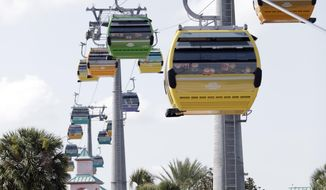 Gondolas move to various locations at Walt Disney World on the Disney Skyliner aerial tram, Friday, Sept. 27, 2019, in Lake Buena Vista, Fla.  The Disney Skyliner gondolas opening to visitors on Sunday are the latest addition to one of the largest private transportation systems in the U.S. (AP Photo/John Raoux)