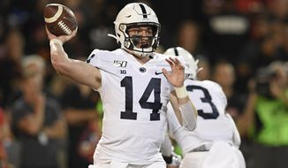 Penn State quarterback Sean Clifford passes during the first half of an NCAA college football game against Maryland, Friday, Sept. 27, 2019, in College Park, Md. (AP Photo/Nick Wass) ** FILE **