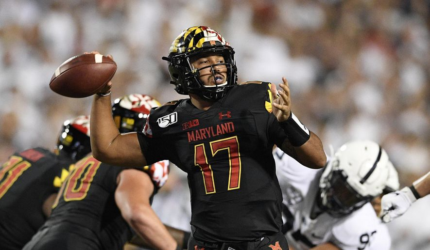 Maryland quarterback Josh Jackson passes during the first half of an NCAA college football game against Penn State, Friday, Sept. 27, 2019, in College Park, Md. (AP Photo/Nick Wass) ** FILE **