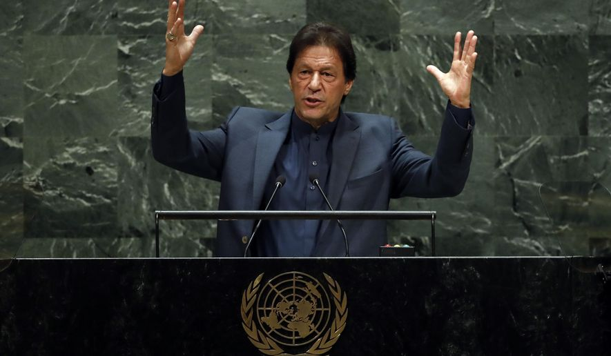 Pakistan's Prime Minister Imran Khan addresses the 74th session of the United Nations General Assembly, Friday, Sept. 27, 2019. (AP Photo/Richard Drew)