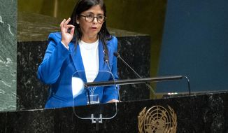 Vice President of Venezuela Delcy Rodriguez addresses the 74th session of the United Nations General Assembly, Friday, Sept. 27, 2019, at the United Nations headquarters. (AP Photo/Craig Ruttle)