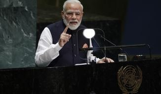 Indian Prime Minister Narendra Modi addresses the 74th session of the United Nations General Assembly, Friday, Sept. 27, 2019, at the United Nations headquarters. (AP Photo/Frank Franklin II)