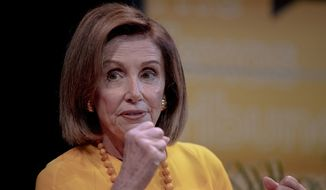 Speaker of the House Nancy Pelosi, D-Calif., speaks during an interview at The Texas Tribune Festival on Saturday, Sept. 28, 2019, in Austin, Texas. (Nick Wagner/Austin American-Statesman via AP)