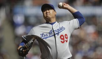 Los Angeles Dodgers pitcher Hyun-Jin Ryu works against the San Francisco Giants in the first inning of a baseball game Saturday, Sept 28, 2019, in San Francisco. (AP Photo/Ben Margot)