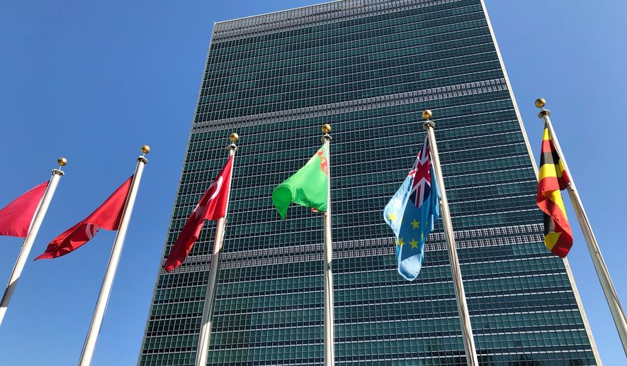 Flags fly outside the United Nations headquarters during the 74th session of the U.N. General Assembly, Saturday, Sept. 28, 2019. At this year's annual gathering at the United Nations, well-known flash points such as the Middle East and trade tensions got lots of airtime, but some leaders also used their time on the world stage to highlight international disputes that don't usually command the same global attention. (AP Photo/Jennifer Peltz)