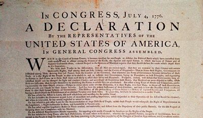 A 1776 copy of the Declaration of Independence, shown in this undated handout photograph, was bought by television producer Norman Lear and Internet entrepreneur David Hayden, who plan to send the document on a national tour under the auspices of Lear's nonprofit organization, People for the American Way. (AP Photo) **FILE**