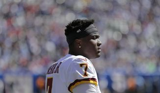 Washington Redskins quarterback Dwayne Haskins on the sidelines during the first half of an NFL football game against the New York Giants, Sunday, Sept. 29, 2019, in East Rutherford, N.J. (AP Photo/Adam Hunger)