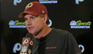 Washington Redskins head coach Jay Gruden talks to reporters after an NFL football game against the New York Giants, Sunday, Sept. 29, 2019, in East Rutherford, N.J. The Giants defeated the Redskins 24-3. (AP Photo/Adam Hunger) ** FILE **