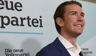 Former Austrian chancellor and top candidate of the Austrian People's Party, OEVP, Sebastian Kurz arrives for a closing rally ahead of federal elections in Vienna, Austria, Saturday, Sept. 28, 2019. (AP Photo/Matthias Schrader)
