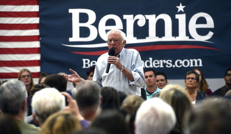 In this Sept. 13, 2019, file photo, Democratic presidential candidate Sen. Bernie Sanders speaks during a campaign stop at the Carson City Community Center Gymnasium in Carson City, Nev. (Jason Bean/The Reno Gazette-Journal via AP)