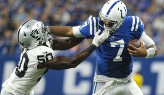 Oakland Raiders linebacker Nicholas Morrow (50) tackles Indianapolis Colts quarterback Jacoby Brissett (7) during the second half of an NFL football game in Indianapolis, Sunday, Sept. 29, 2019. (AP Photo/AJ Mast)