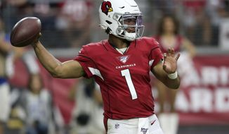 Arizona Cardinals quarterback Kyler Murray (1) throws against the Seattle Seahawks during the second half of an NFL football game, Sunday, Sept. 29, 2019, in Glendale, Ariz. (AP Photo/Ross D. Franklin)