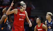 Washington Mystics forward Elena Delle Donne reacts after being fouled while scoring in the first half of Game 1 of basketball's WNBA Finals against the Connecticut Sun, Sunday, Sept. 29, 2019, in Washington. (AP Photo/Patrick Semansky) ** FILE **