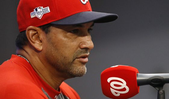 Washington Nationals manager Dave Martinez speaks at a baseball news conference, Monday, Sept. 30, 2019, in Washington. The Nationals are scheduled to host the Milwaukee Brewers in a National League wild card game Tuesday, Oct. 1. (AP Photo/Patrick Semansky) ** FILE **