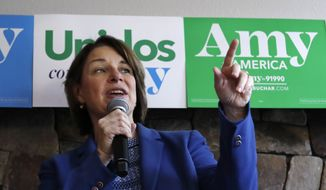Democratic presidential candidate Sen. Amy Klobuchar, D-Minn., speaks during a campaign event at a coffee shop Monday, Sept. 30, 2019, in Seattle. (AP Photo/Elaine Thompson)