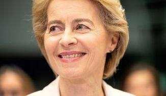 """Ursula von der Leyen defended her initiative in a statement arguing that """"the 'European way of life' also means listening and debating with each other to find solutions for the common good. That is what I want us to do together."""" (Photograph by Seth J. Frantzman/Special to The Washington Times)"""
