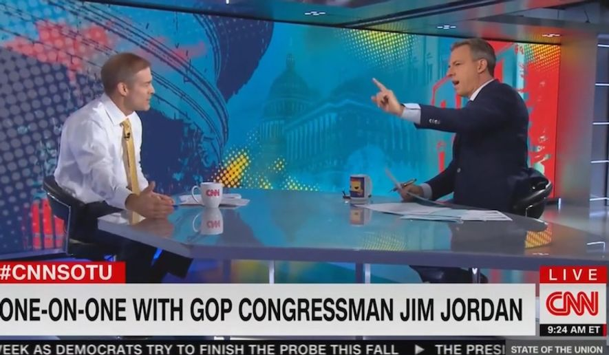 """CNN's Jake Tapper spars with Ohio Rep. Jim Jordan during """"State of the Union,"""" Sept. 29, 2019. (Image: CNN video screenshot)"""