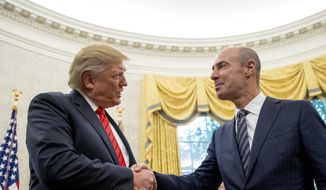 President Donald Trump shakes hands with newly appointed Labor Secretary Eugene Scalia, right, during a ceremonial swearing in ceremony in the Oval Office of the White House in Washington, Monday, Sept. 30, 2019. (AP Photo/Andrew Harnik)