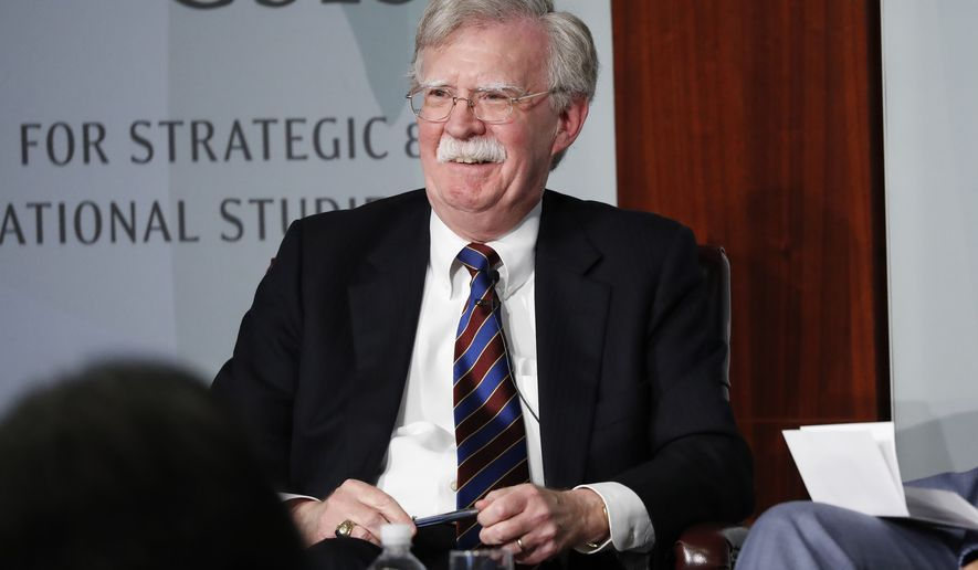 Former National security adviser John Bolton reacting to questions while speaking at the Center for Strategic and International Studies in Washington, Monday, Sept. 30, 2019. (AP Photo/Pablo Martinez Monsivais)