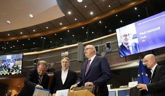 European Commissioner designate for Trade Phil Hogan arrives for his hearing at the European Parliament in Brussels, Monday, Sept. 30, 2019. (AP Photo/Virginia Mayo)