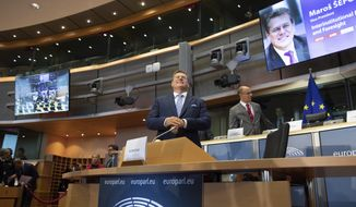 European Commissioner designate for Inter-institutional Relations and Foresight Maros Sefcovic arrives for his hearing at the European Parliament in Brussels, Monday, Sept. 30, 2019. (AP Photo/Virginia Mayo)