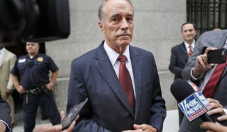 FILE - In this Sept. 12, 2019 file photo, U.S. Rep. Chris Collins, R-N.Y., speaks to reporters as he leaves the courthouse after a pretrial hearing in his insider-trading case, in New York. A federal judge in Manhattan has scheduled a hearing Tuesday, Oct. 1 for Collins to enter a guilty plea in a case initially brought last year.  (AP Photo/Seth Wenig, File)